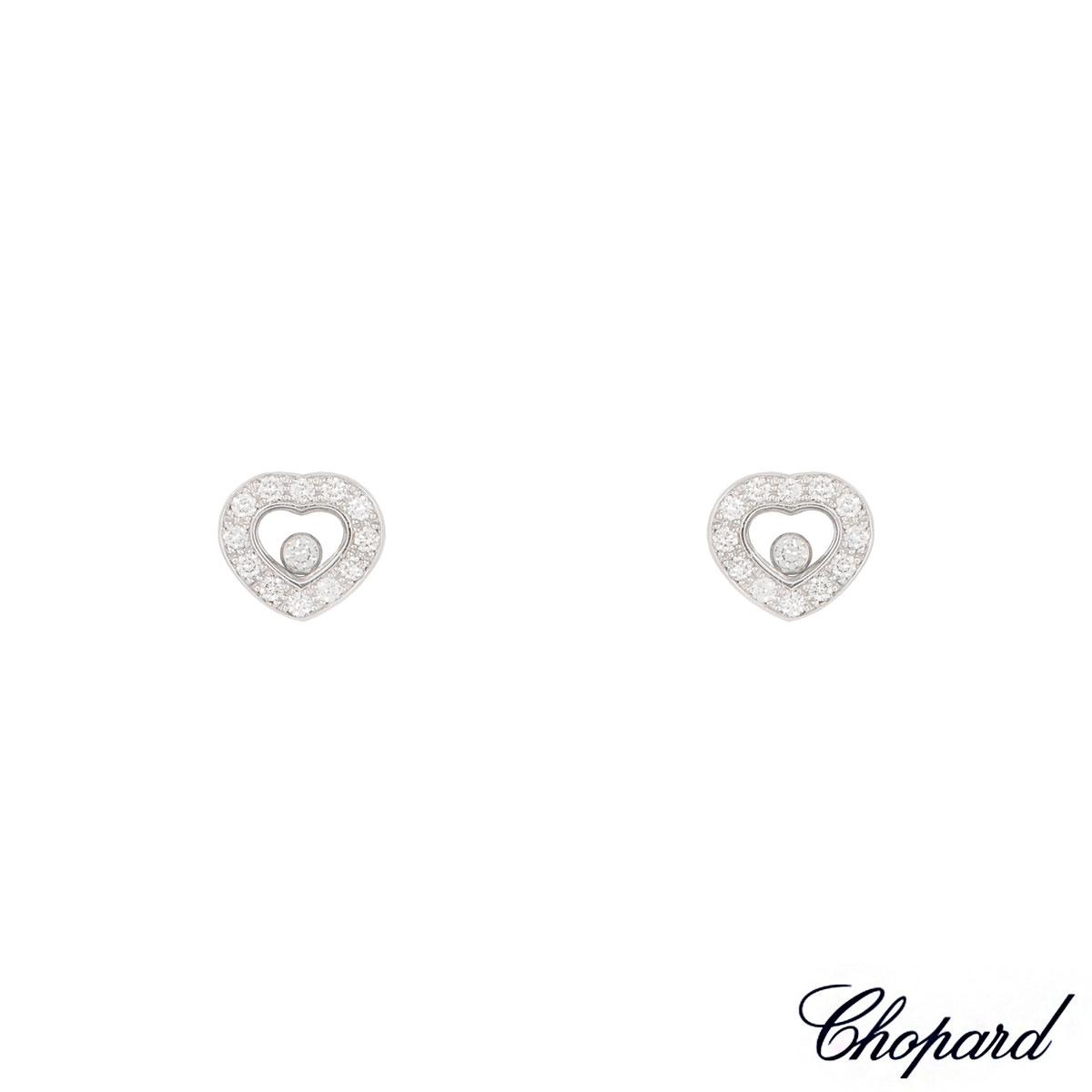 Chopard White Gold Happy Diamond Heart Earrings 83/2936-20